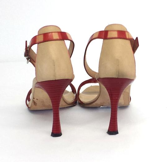 Manolo Blahnik Leather Heels Nude And Red Sandals