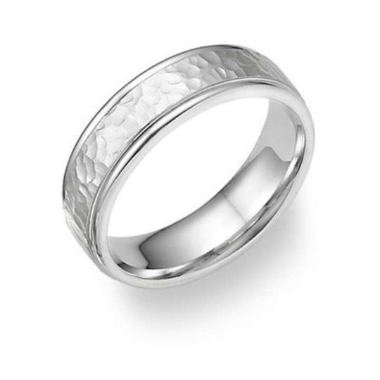Apples of Gold Silver 14k White Hammered Ring Women's Wedding Band