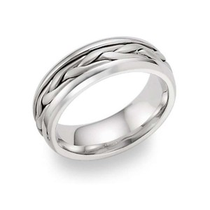 Apples Of Gold 14k White Gold Wide Braided Wedding Band