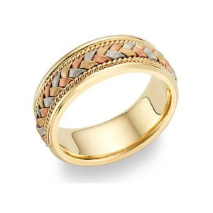 Apples Of Gold 14k Tri-color Gold Braided Wedding Band