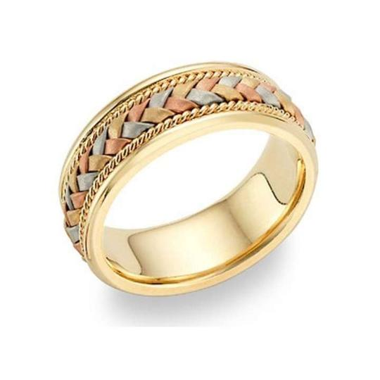 Apples of Gold 14k Tri-color Braided Men's Wedding Band