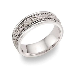 Apples Of Gold Paisley Design Wedding Band 14k White Gold