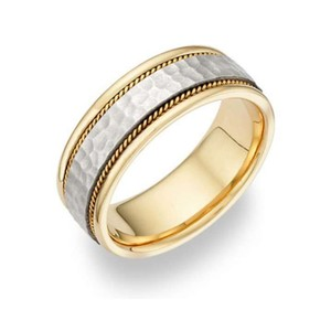 Apples Of Gold Brushed Hammered Wedding Band In 14k Two-tone Gold