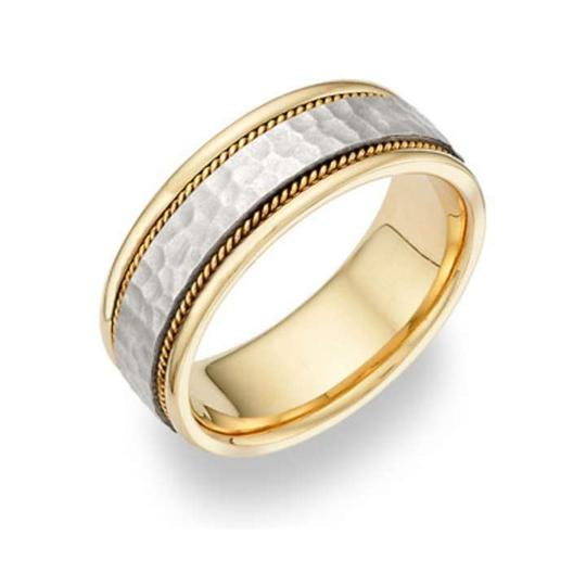 Apples of Gold Brushed Hammered In 14k Two-tone Men's Wedding Bands