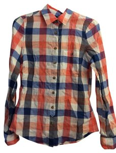 H&M Button Down Shirt Blue Orange White