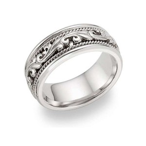 Apples Of Gold 14k White Gold Paisley Wedding Band