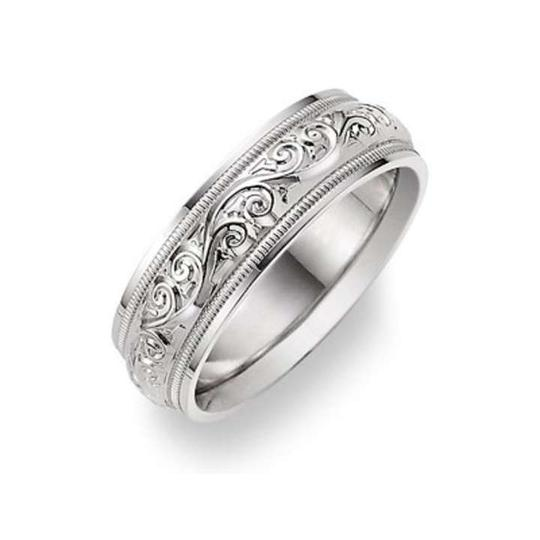 Apples of Gold Silver Paisley Design White Ring Women's Wedding Band