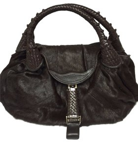 Fendi Spy Handbag Spy Pony Fur Pony Fur Leather Hobo Bag