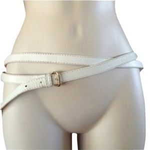 Jimmy Choo White Patent Jimmy Choo Double Wrap Belt