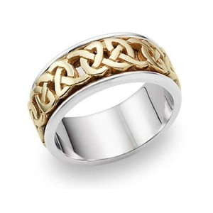 Apples Of Gold Caedmon Celtic Wedding Band 14k Two-tone Gold