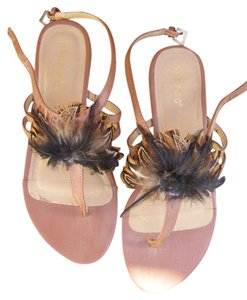 Bamboo Size 7 Embellished Size 7 Brown with feathers Sandals