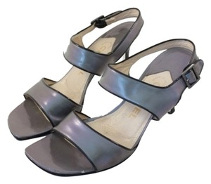 Chanel Shimmer Square Grey Iridescent Sandals