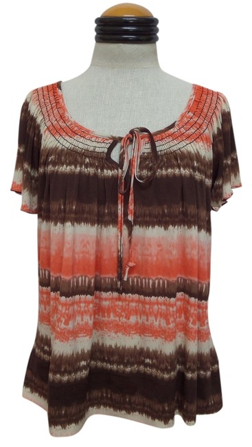 New Directions Top Multi Color Geometric Print
