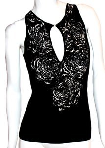 Blumarine And White Rose Printed Top Black