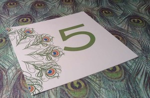 Blue and Green Peacock Themed Table Number