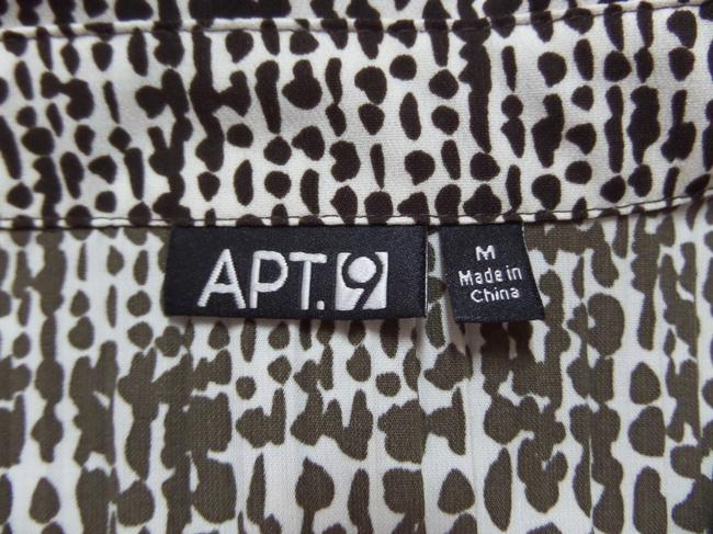 Apt. 9 Top Cream with Brown Geometric Print
