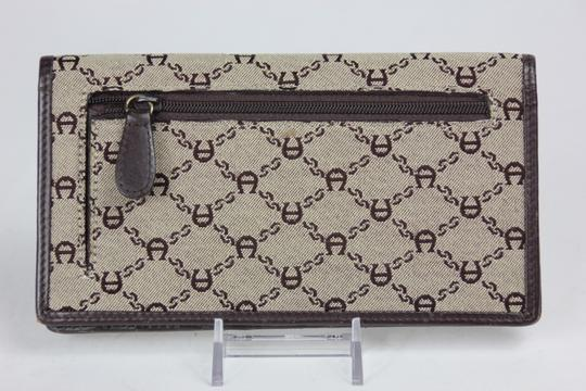 Etienne Aigner * Etienne Aigner Canvas Monogram Check Book Wallet - Brown