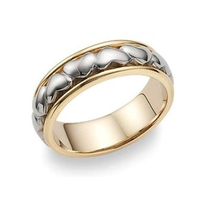 Apples Of Gold Eternal Heart Wedding Band Ring In 14k Two-tone Gold