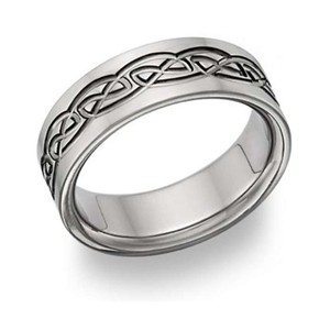 Apples of Gold Titanium Celtic Ring Men's Wedding Band