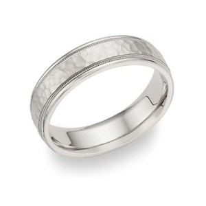 Apples Of Gold Hammered Milgrain Wedding Band In 14k White Gold