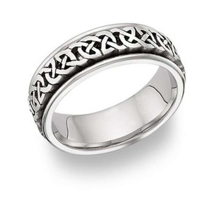 Apples Of Gold Caer Celtic Knot Wedding Band Ring 14k White Gold