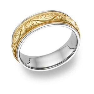 Apples of Gold Paisley Ring - 14k Two-tone Men's Wedding Band