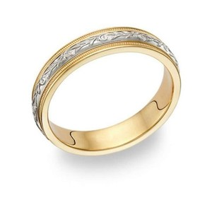 Apples Of Gold Paisley Wedding Band Ring - 14k Two-tone Gold
