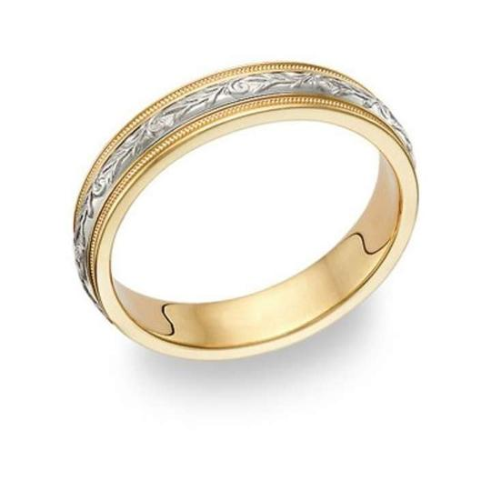 Apples of Gold Paisley Ring - 14k Two-tone Women's Wedding Band