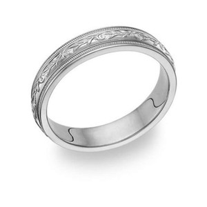 Apples of Gold Silver 14k White Paisley Ring Women's Wedding Band