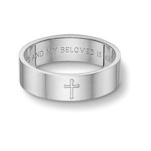 Apples Of Gold Song Of Solomon Cross Wedding Band - White Gold