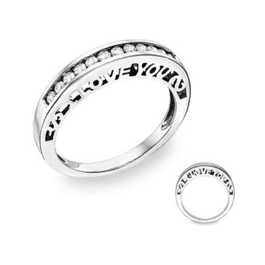 Apples of Gold Silver I Love You Diamond Ring Women's Wedding Band