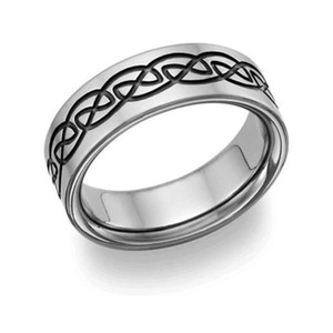Apples of Gold Black Titanium Celtic Men's Wedding Band