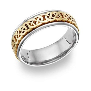 Apples of Gold Caer Celtic Knot Ring In 14k Two-tone Men's Wedding Band