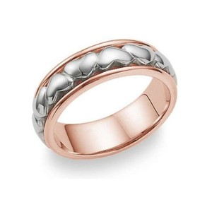 Apples of Gold Eternal Heart Ring - 14k Rose and White Women's Wedding Band