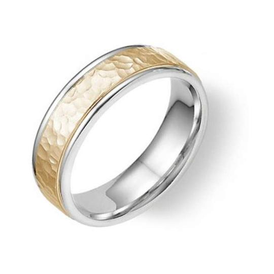 Apples of Gold 14k Two-tone Hammered Ring Men's Wedding Bands