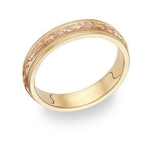 Apples Of Gold Paisley Wedding Band Ring - 14k Yellow And Rose Gold