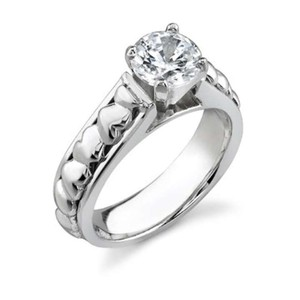 Apples Of Gold 1/4 Carat Diamond Heart Engagement Ring 14k White Gold