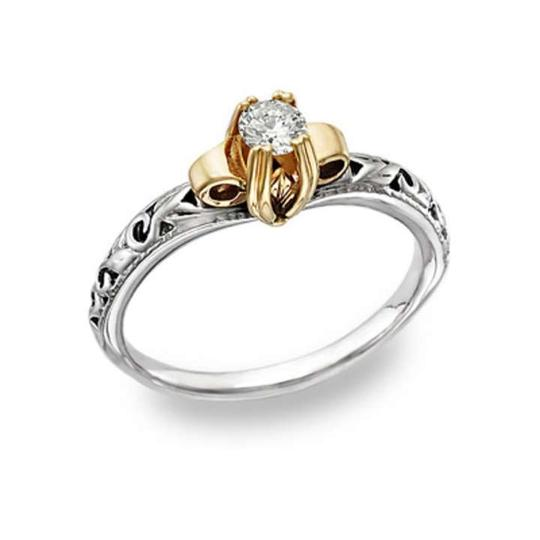 Apples of Gold White Art Deco 1 Carat Cz 14k Two-tone Engagement Rings