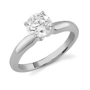 Apples Of Gold Diamond Solitaire Cz Ring 14k White Gold