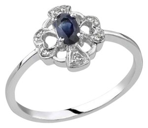 Apples of Gold Heart and Cross Heart and Cross Sapphire Diamond Ring, 14K White Gold Diamond Ring, 14K White Gold