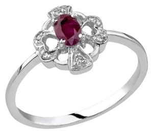 Apples of Gold Cross and Heart Ruby and Diamond Ring, 14K White Gold