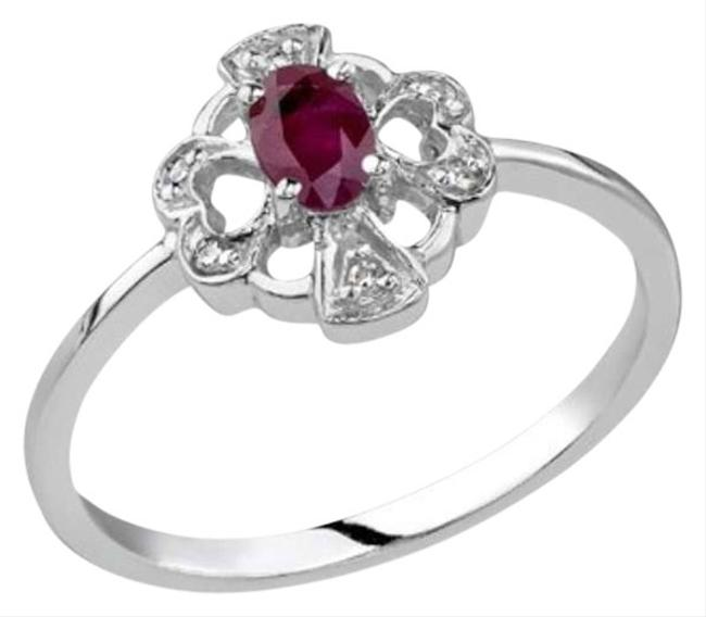 Apples of Gold Red Cross and Heart Ruby and Diamond 14k White Ring Apples of Gold Red Cross and Heart Ruby and Diamond 14k White Ring Image 1