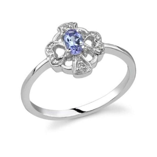 Apples of Gold Cross and Heart Tanzanite and Diamond Ring, 14K White Gold