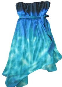 Max and Cleo Strapless Peacock Designer Prom Party Dress