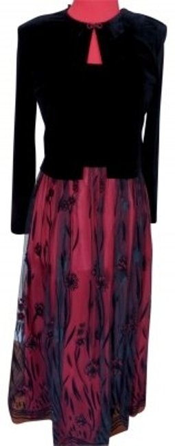 Item - Black and Red 2 Pc Jacket Tank Gown Long Formal Dress Size 6 (S)