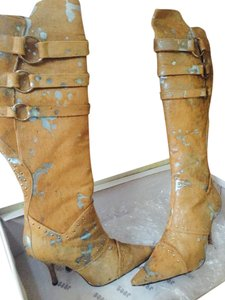 Junonia Juno Tan Pony & Light Blue Leather Boots Boots