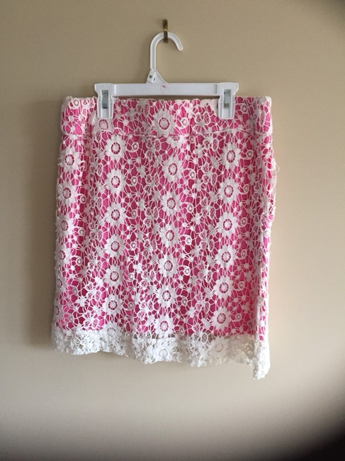 Knitted Dove Skirt Pink w/Cream Lace Overlay