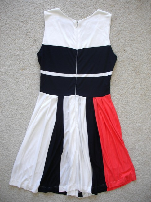 French Connection short dress white/navy/coral Medina Striped Orange Short Pleated Jersey Summer on Tradesy