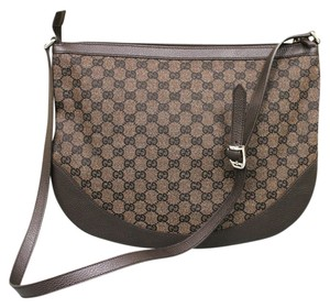 Gucci Canvas Leather Messenger Shoulder Bag