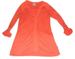 Ella Moss Summer 3/4 Sleeves Lace T Shirt Orange
